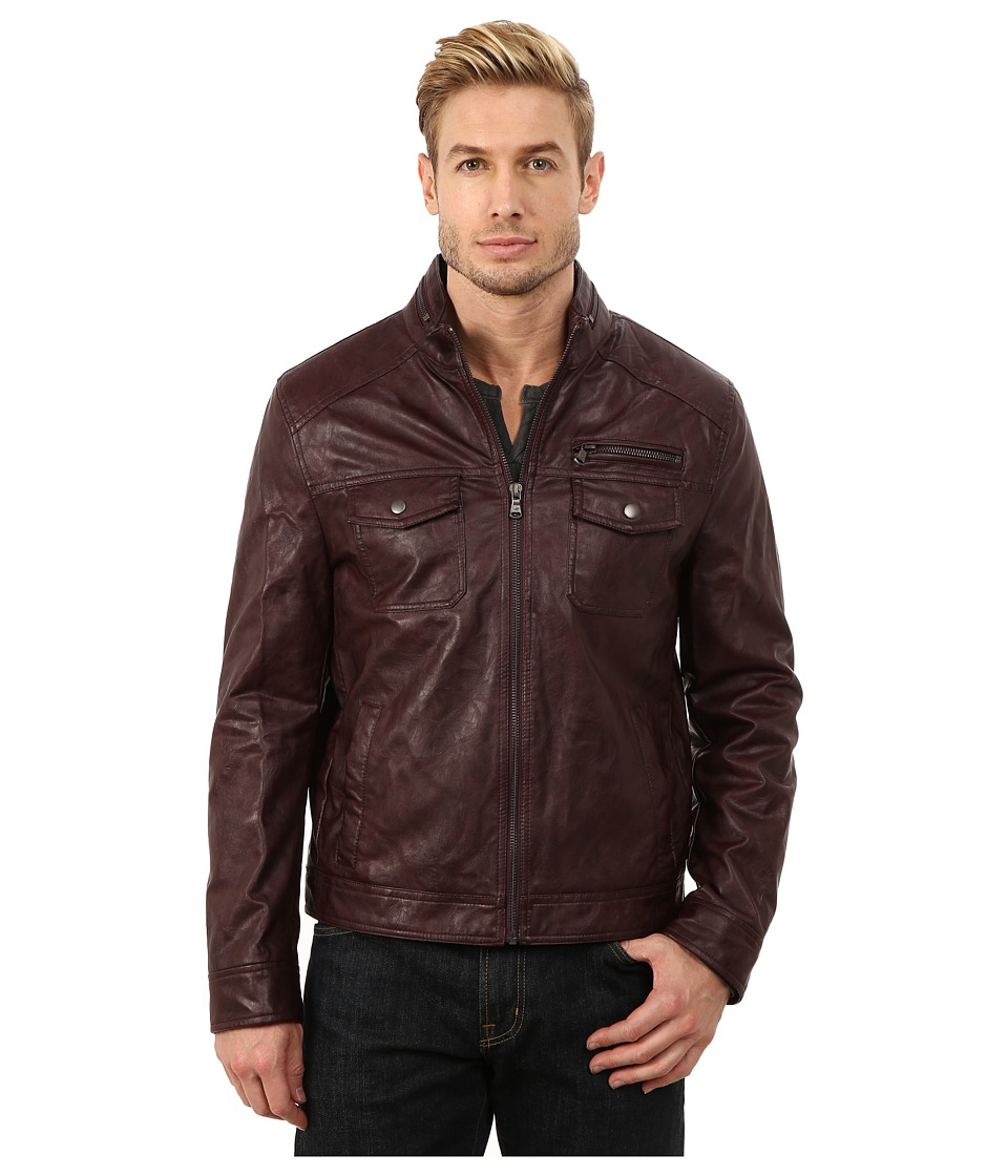 Kenneth Cole Reaction - Faux Leather Hipster (Burgundy) Men's Coat