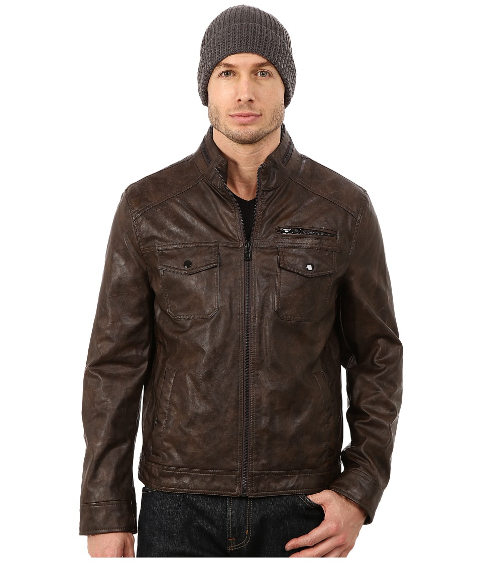 Kenneth Cole Reaction - Faux Leather Hipster (Wood Brown) Men's Coat