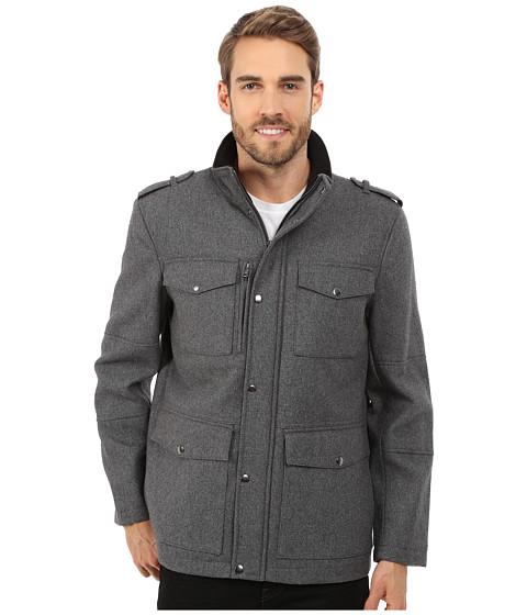 Kenneth Cole Reaction - Wool Car Coat (Steel) Men's Coat