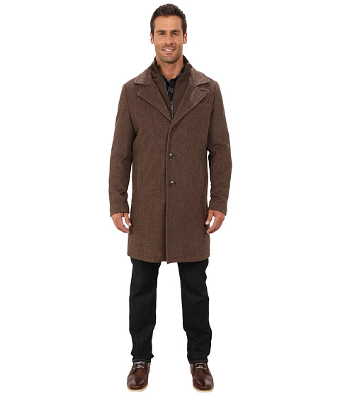 Kenneth Cole New York - Novelty Wool Car Coat (Brown) Men's Coat