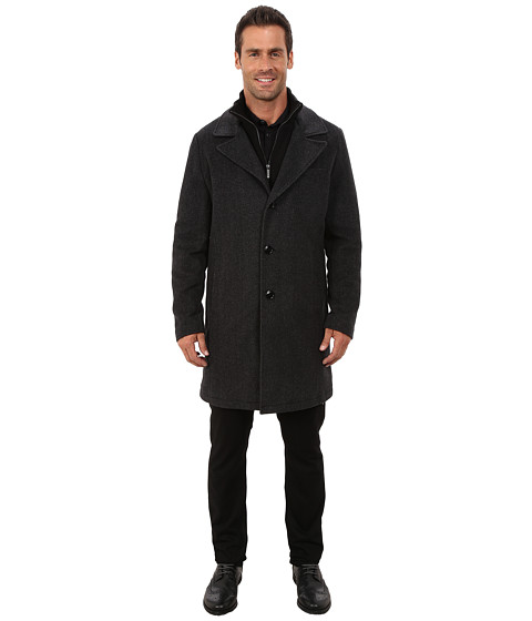 Kenneth Cole New York - Novelty Wool Car Coat (Charcoal) Men's Coat