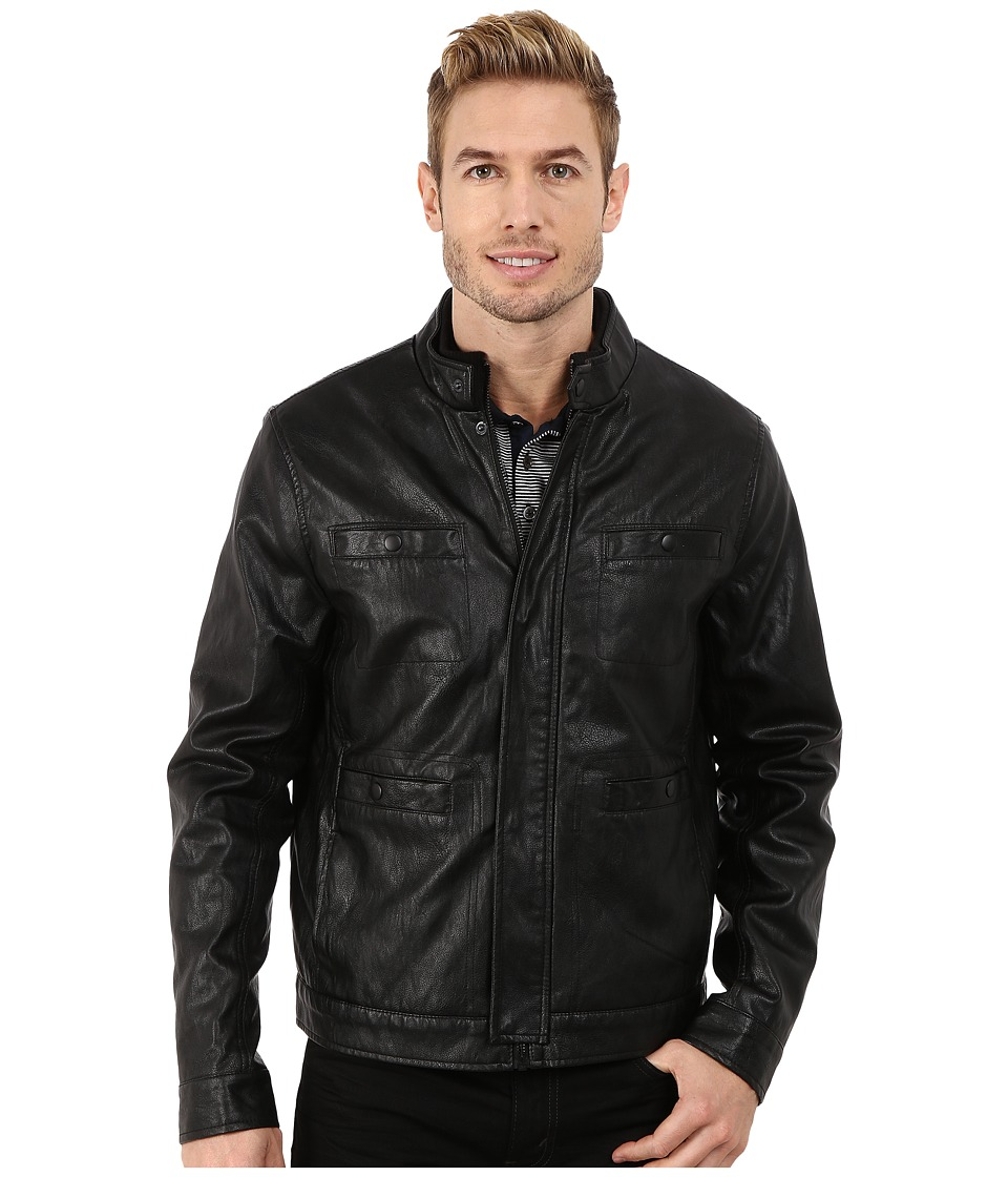 Kenneth Cole New York - Distressed Faux Leather Rider's Jacket (Black) Men's Coat