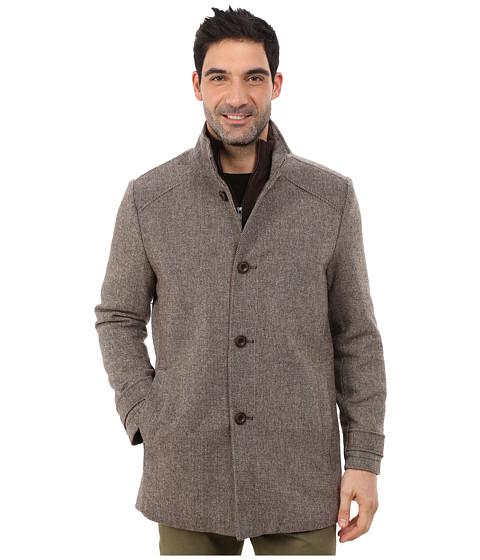 Kenneth Cole New York - Wool Tweed Minimal Coat (Brown) Men