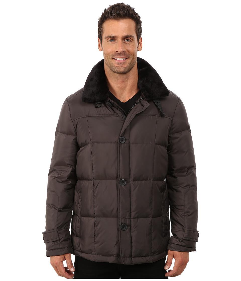 Kenneth Cole New York - Fur Collar Poly Jacket (Dark Tin) Men's Coat