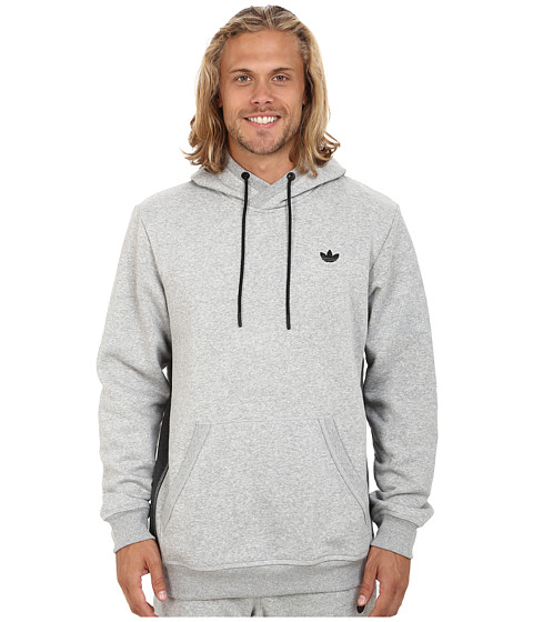 adidas Originals - Sport Luxe Fleece Hoodie (Medium Grey Heather/Dark Grey Heather/Black) Men