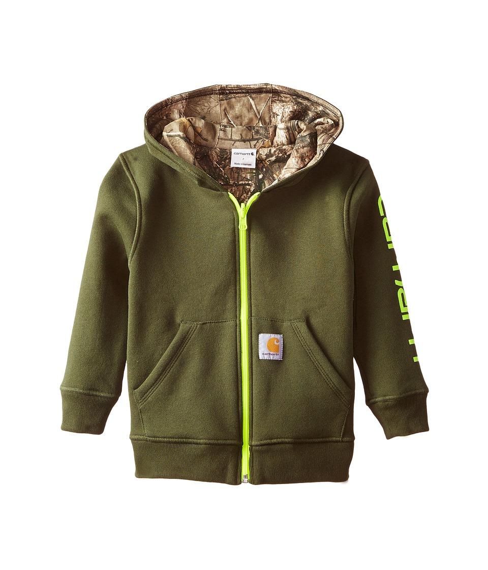 Carhartt Kids - Reversible Fleece Zip Sweatshirt (Toddler/Little Kids) (Olive) Boy's Sweatshirt