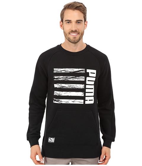 PUMA - Blocked Crew Long Sleeve Top (Black) Men's Clothing