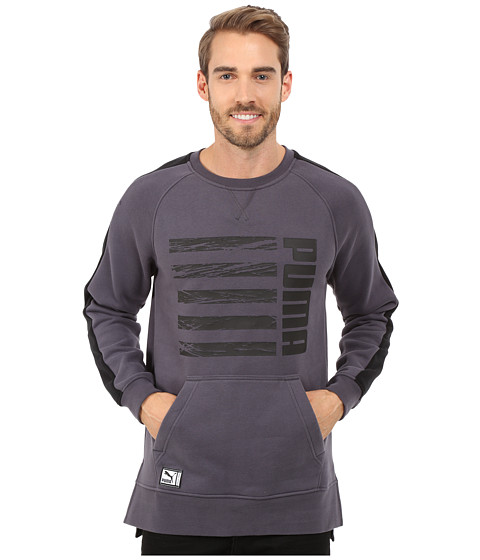 PUMA - Blocked Crew Long Sleeve Top (Periscope/Black) Men's Clothing
