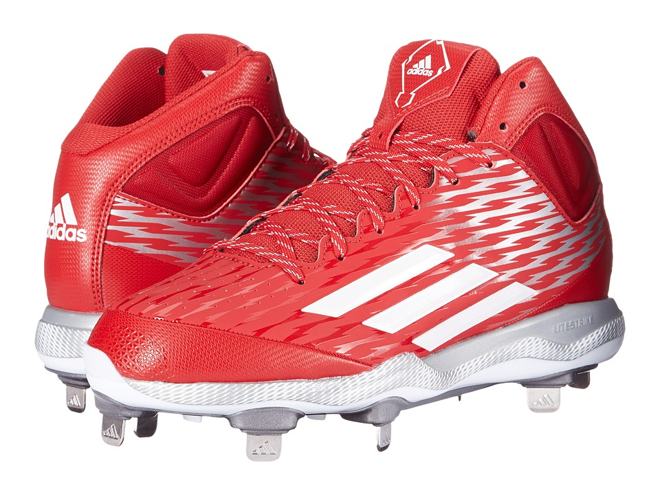 adidas - PowerAlley 3 Mid (Power Red/White/Grey Metallic) Men's Cleated Shoes