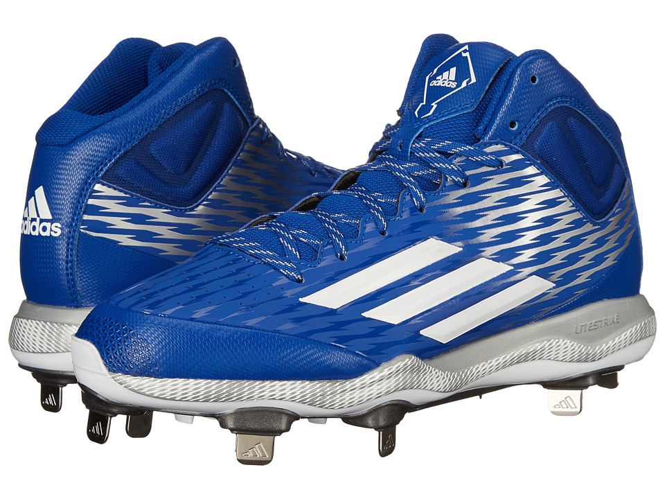adidas - PowerAlley 3 Mid (Collegiate Royal/White/Grey Metallic) Men's Cleated Shoes
