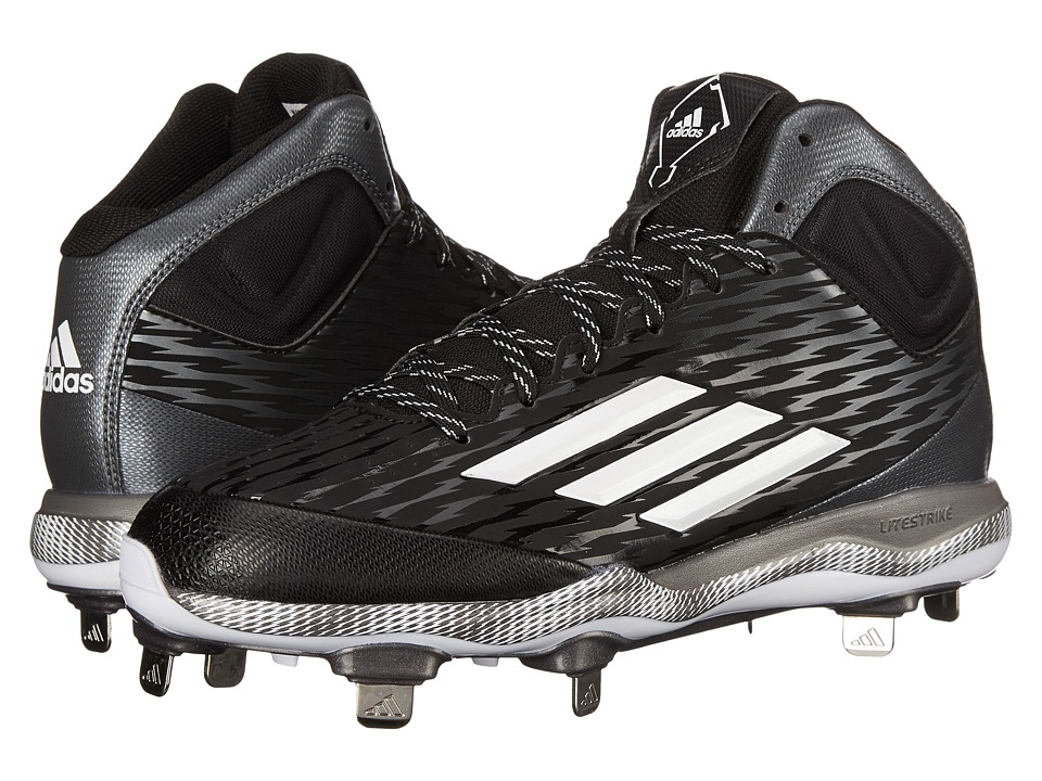 adidas - PowerAlley 3 Mid (Black/White/Grey Metallic) Men's Cleated Shoes