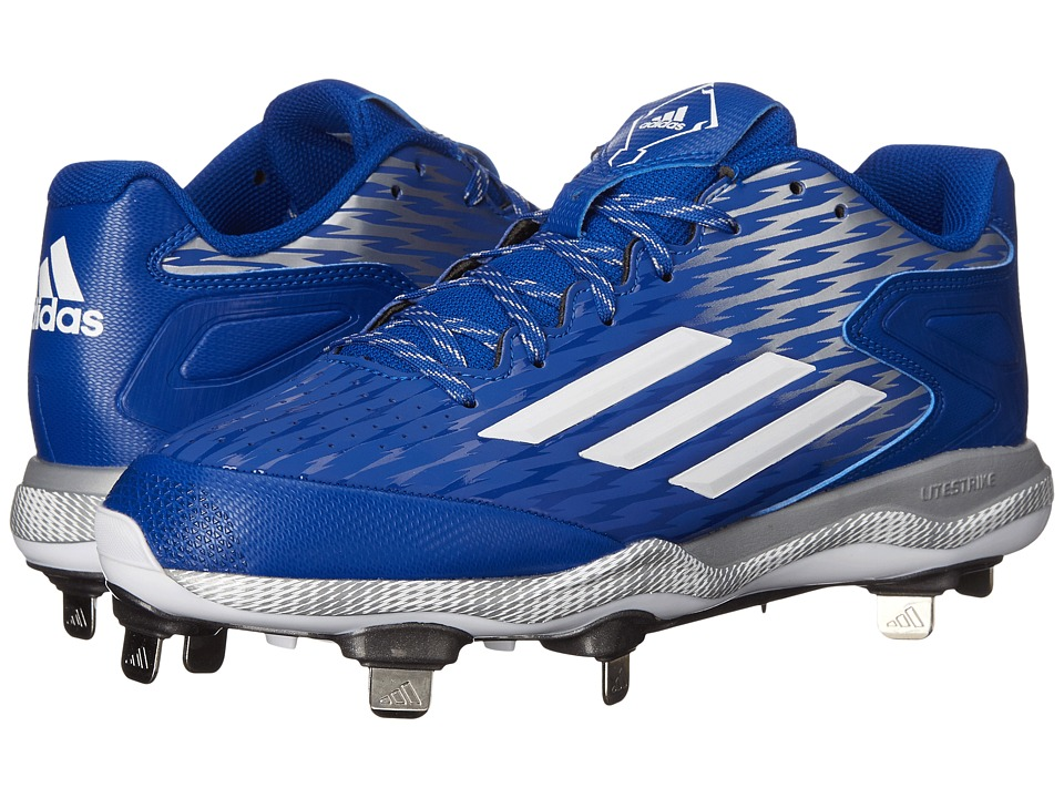 adidas - PowerAlley 3 (Collegiate Royal/White/Grey Metallic) Men's Cleated Shoes