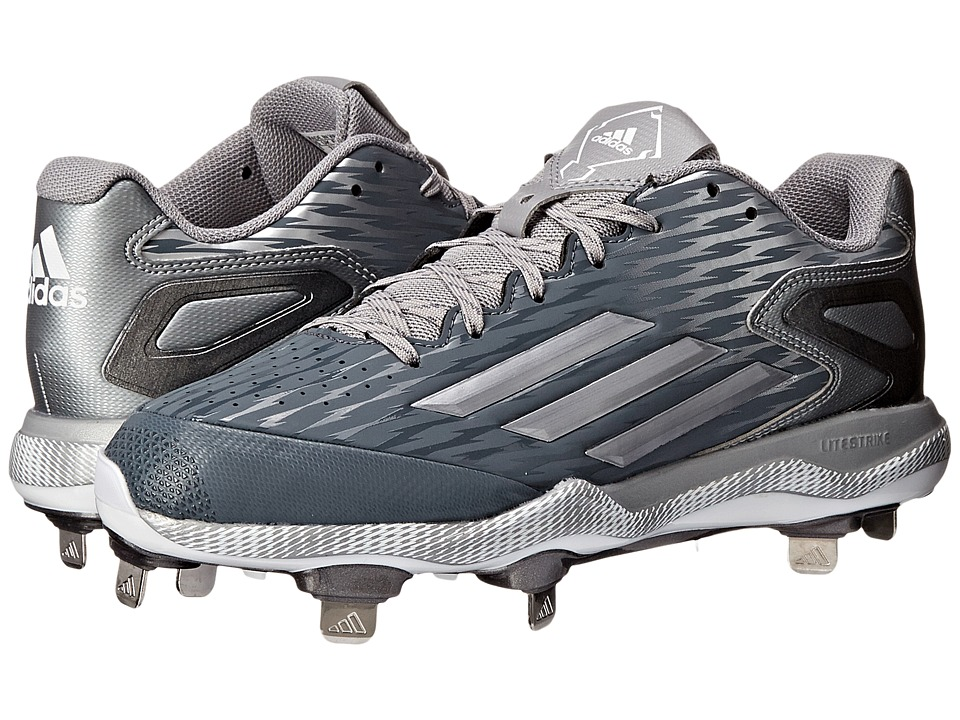 adidas - PowerAlley 3 (Onix/Grey Metallic/White) Men's Cleated Shoes