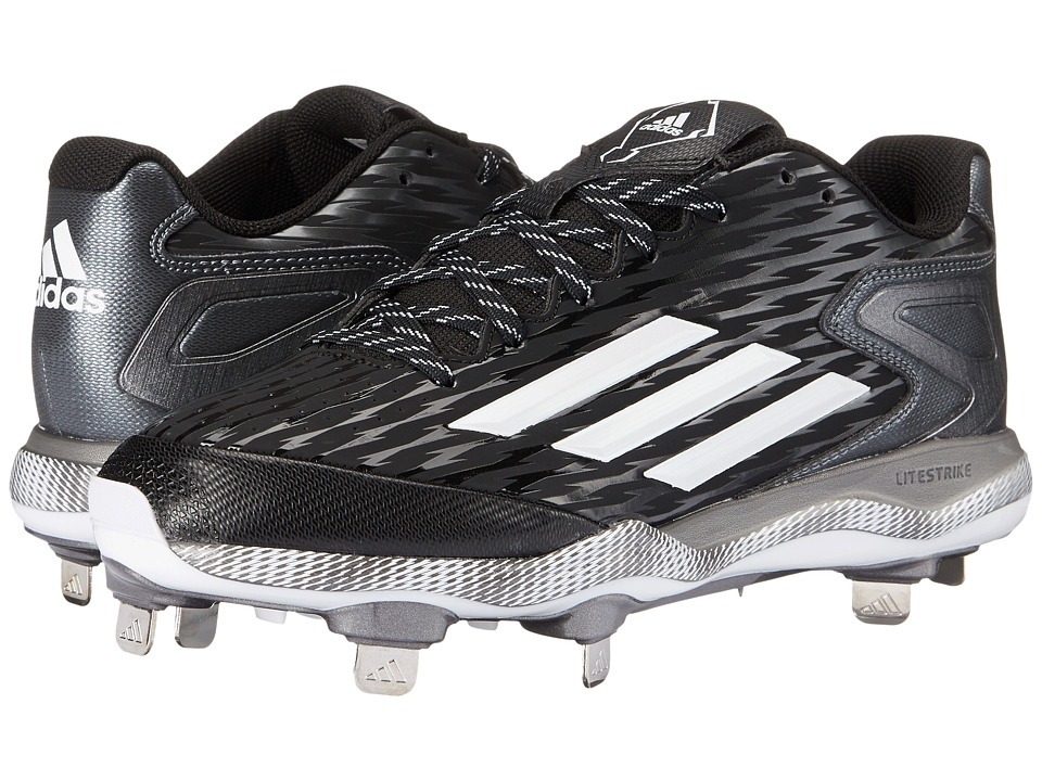 adidas - PowerAlley 3 (Black/White/Grey Metallic) Men's Cleated Shoes