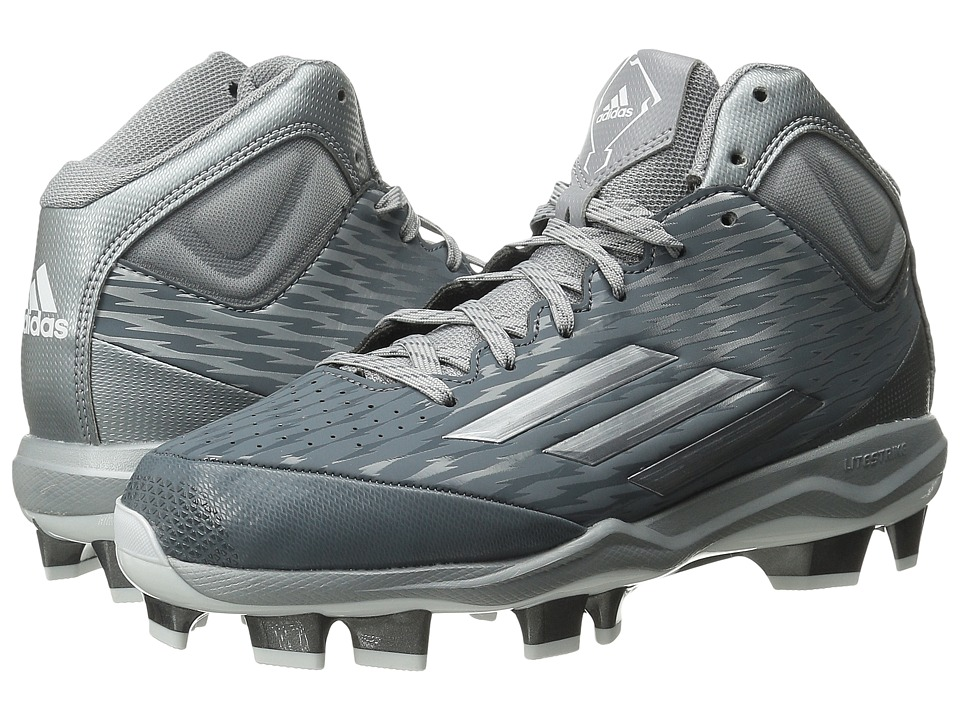 adidas - PowerAlley 3 Mid TPU (Onix/Grey Metallic/White) Men's Cleated Shoes