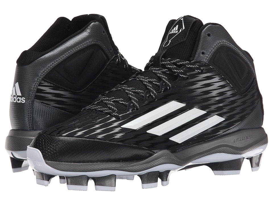 adidas - PowerAlley 3 Mid TPU (Black/White/Grey Metallic) Men's Cleated Shoes