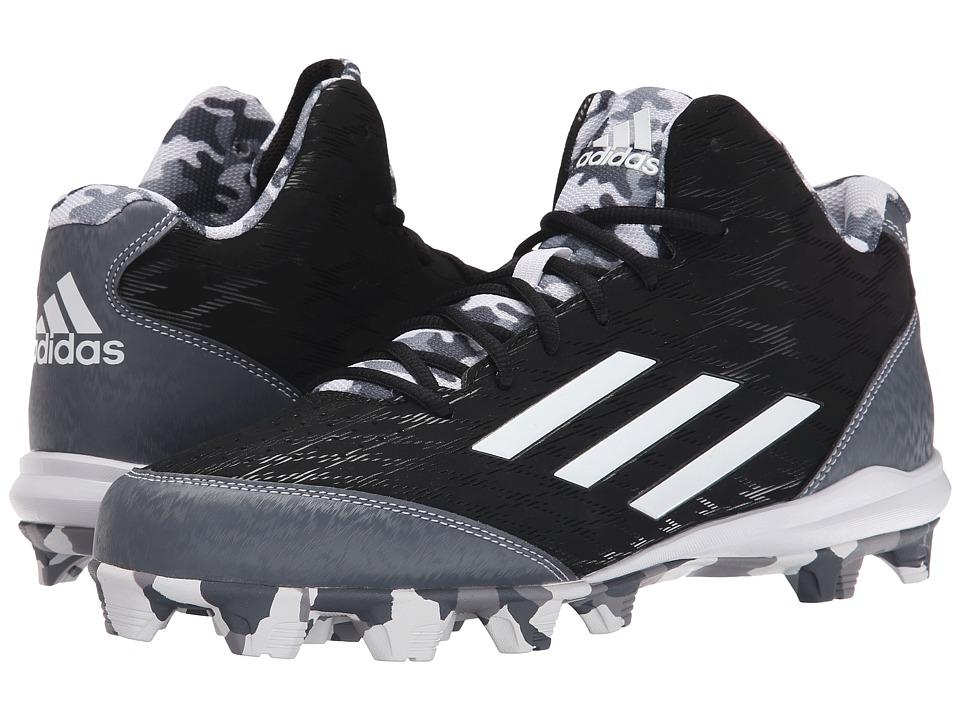 adidas - Wheelhouse 3 Mid Baseball (Black/White/Carbon Metallic) Men's Cleated Shoes
