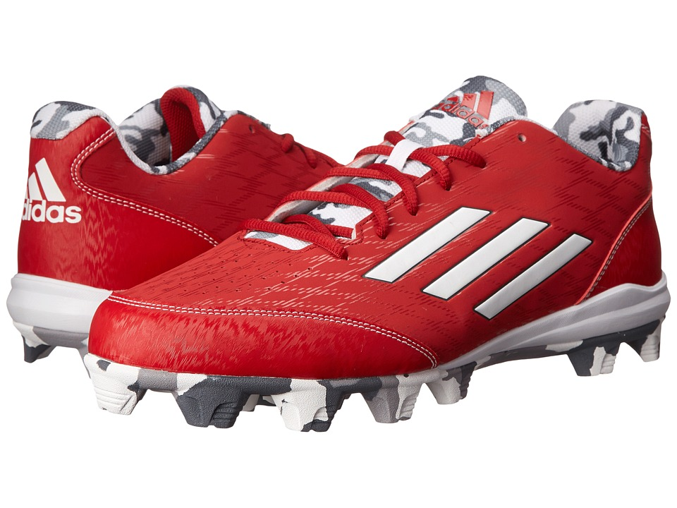 adidas - Wheelhouse 3 Baseball (Power Red/White/Grey Metallic) Men's Cleated Shoes