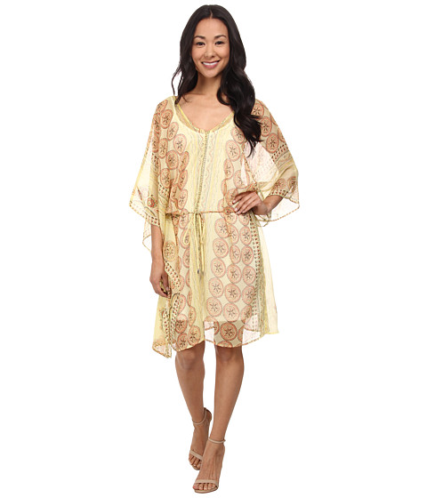 Brigitte Bailey - Print Chiffon Dress (Yellow) Women's Dress