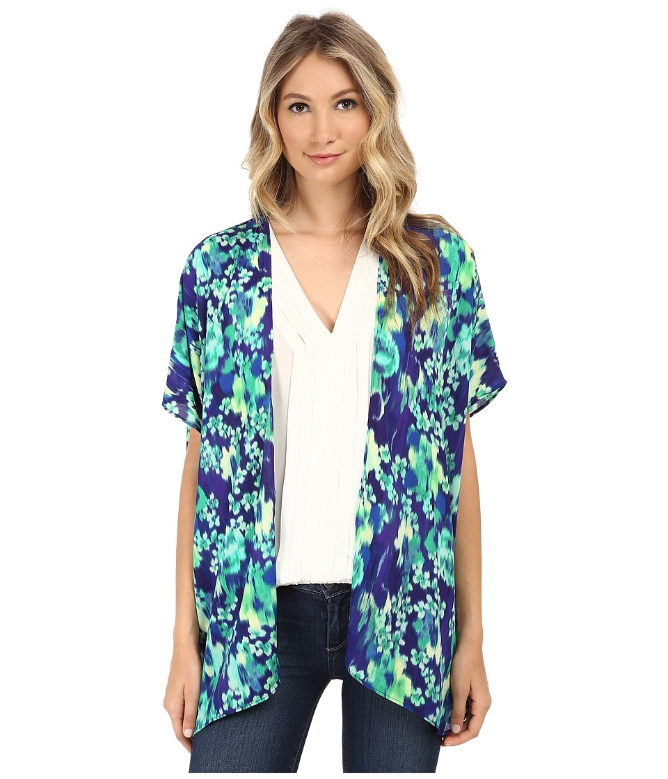 Brigitte Bailey - Print Chiffon Kimono (Blue/Green) Women's Dress