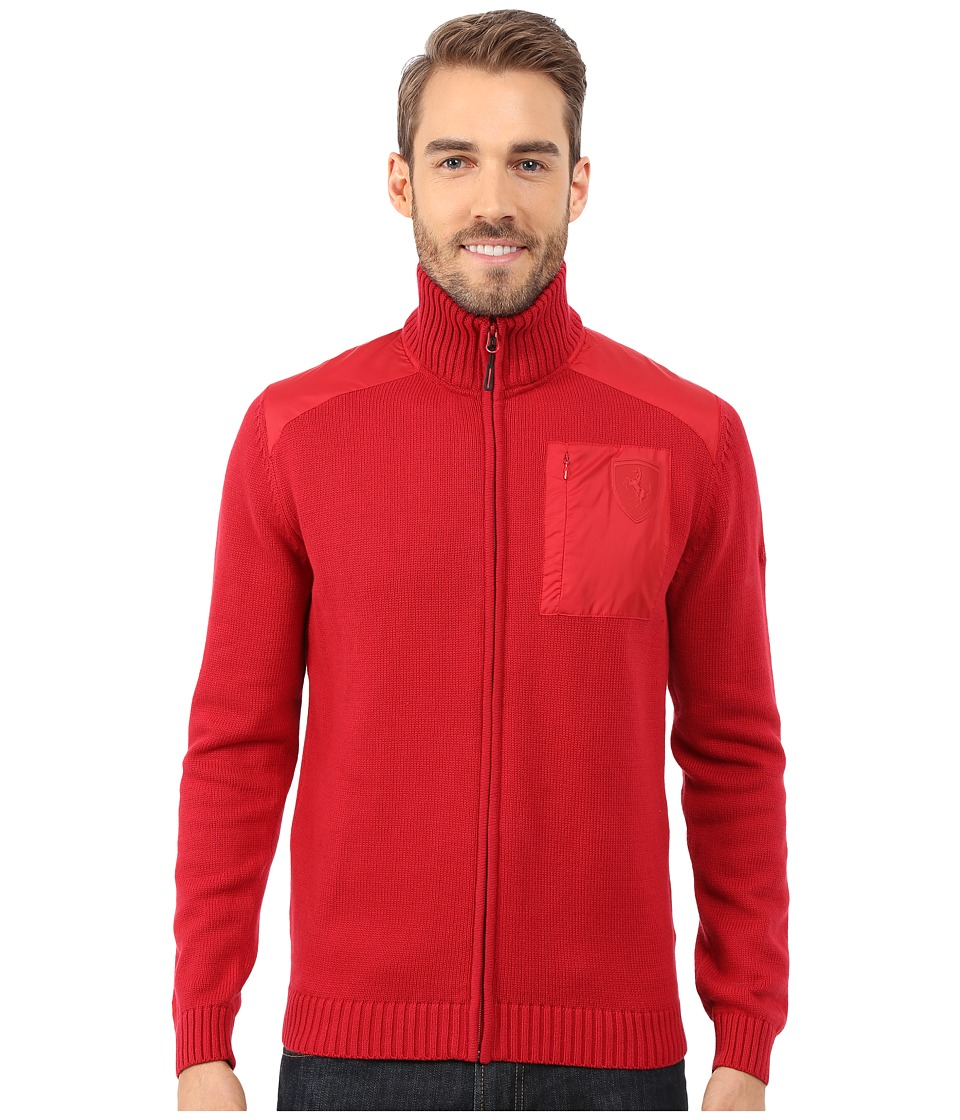 PUMA - Ferrari Full Zip Knit Cardigan (Scooter) Men's Sweater