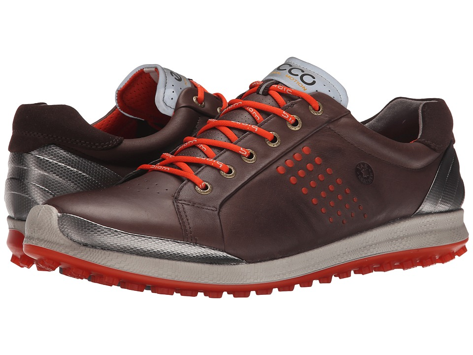 ECCO Golf - BIOM Hybrid 2 (Mocha/Fire) Men's Golf Shoes