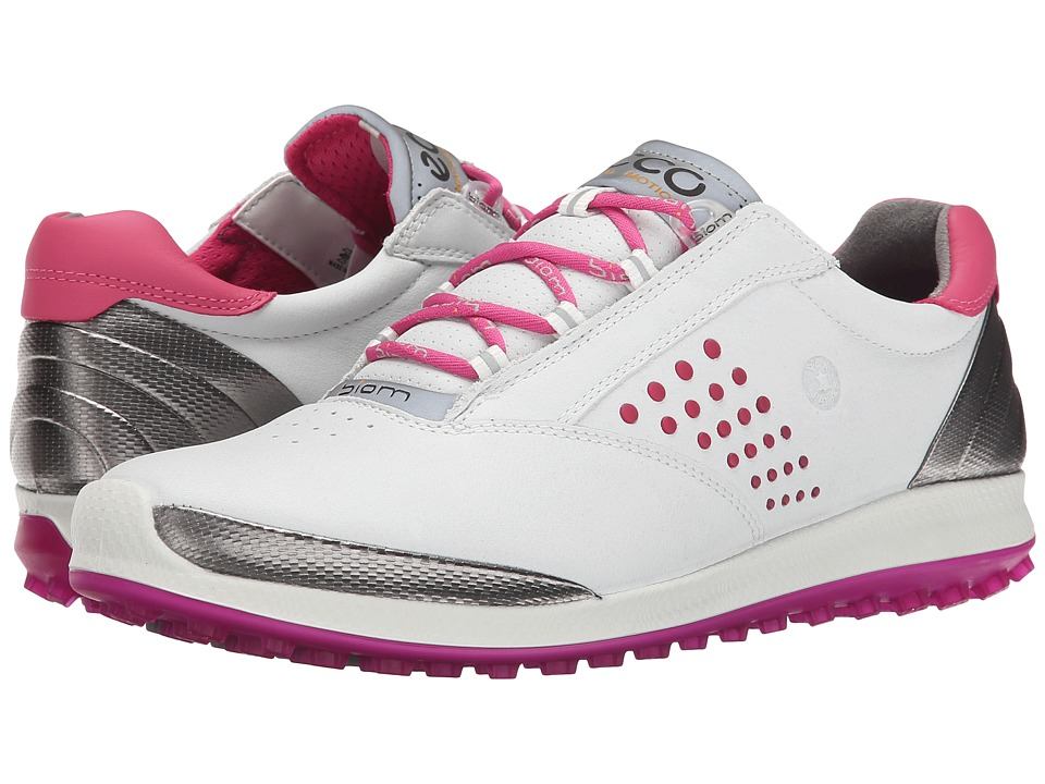 ECCO Golf - BIOM Hybrid 2 (White/Candy) Women's Golf Shoes
