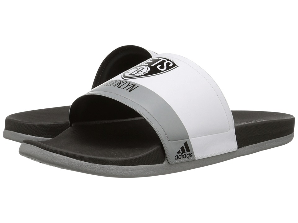 adidas - Adilette - Brooklyn Nets (White/Black/CH Solid Grey) Men