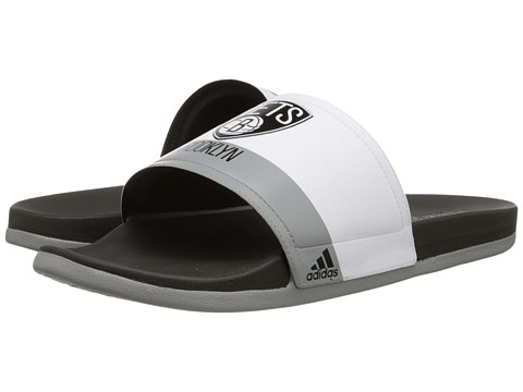 adidas - Adilette - Brooklyn Nets (White/Black/CH Solid Grey) Men's Sandals
