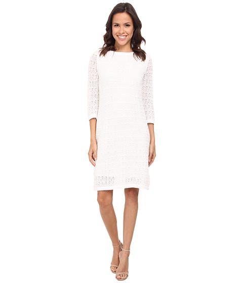 Jones New York - 3/4 Sleeve Boat Neck Dress (White) Women