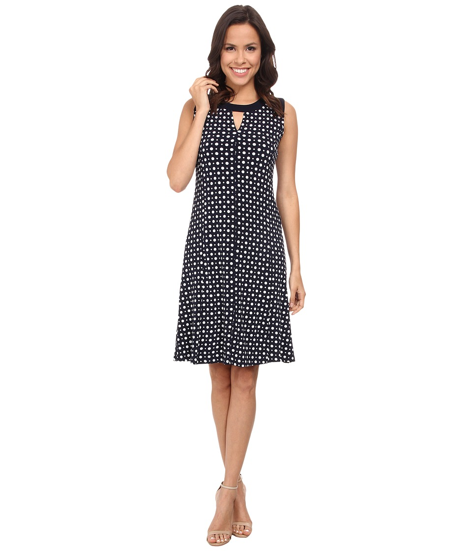 Jones New York - Sleeveless Crew Neck Dress (Navy/White) Women's Dress