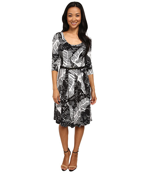 Jones New York - 3/4 Sleeve Dress (Black/White) Women