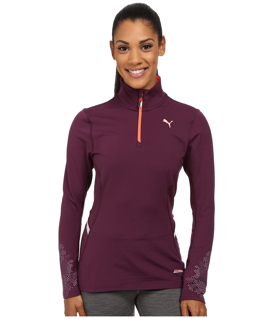 PUMA - Nightcat Power Warm Long Sleeve Top (Italian Plum) Women's Long Sleeve Pullover
