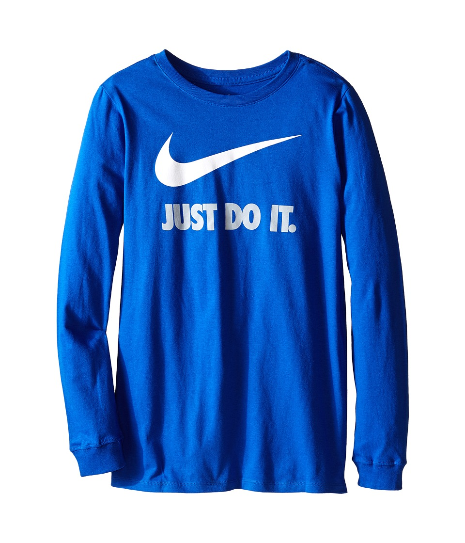 Nike Kids - Just Do It Swoosh Long Sleeve Tee (Little Kids/Big Kids) (Game Royal/Game Royal/White) Boy's Workout