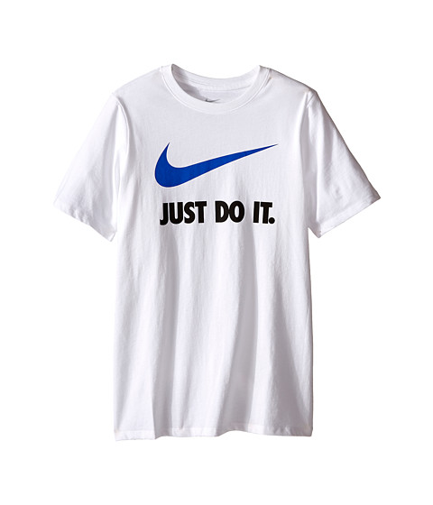 Nike Kids - JDI Swoosh Tee (Little Kids/Big Kids) (White/White) Boy's T Shirt
