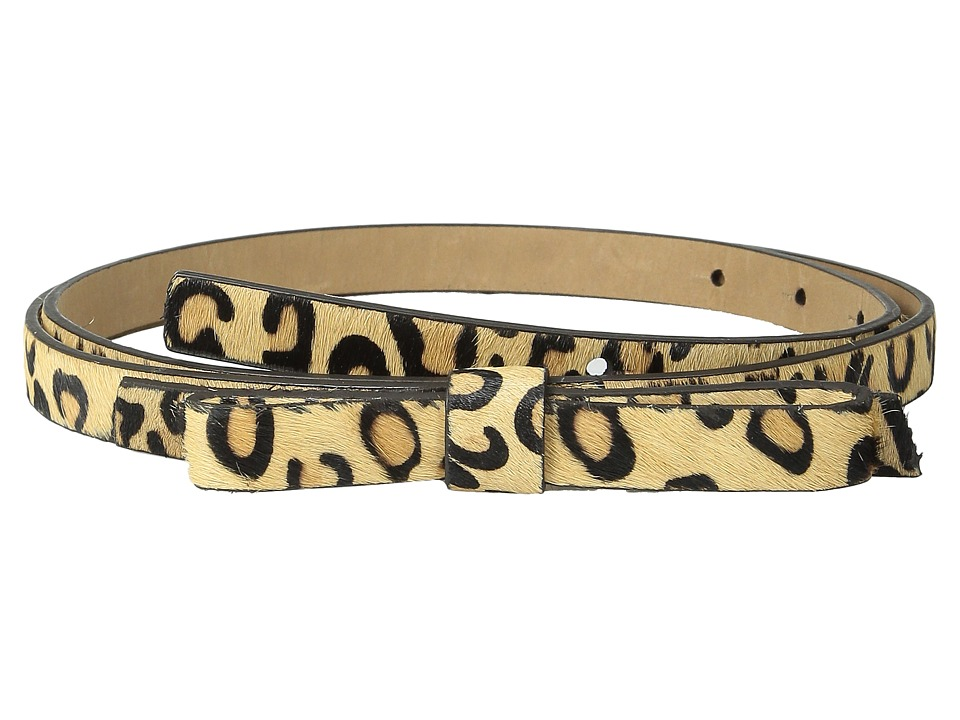 Kate Spade New York - Haircalf Panel Bow Belt (Natural Leopard/Pale Gold) Women's Belts