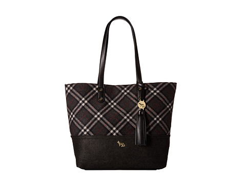 Emma Fox - Caspian Plaid Tote (Grey Plaid) Tote Handbags