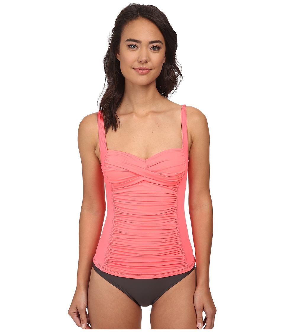 La Blanca - Core Solid OTS Sweetheart Tankini w/ Foam Cups Adjustable Straps (Coral) Women