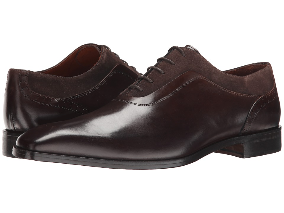 Massimo Matteo - Mixed Media Plain Toe Lace Up (Brown/Brown) Men's Plain Toe Shoes