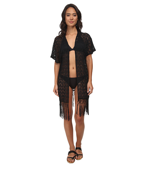 La Blanca - Flamenco Lace Kimono (Black) Women's Swimwear
