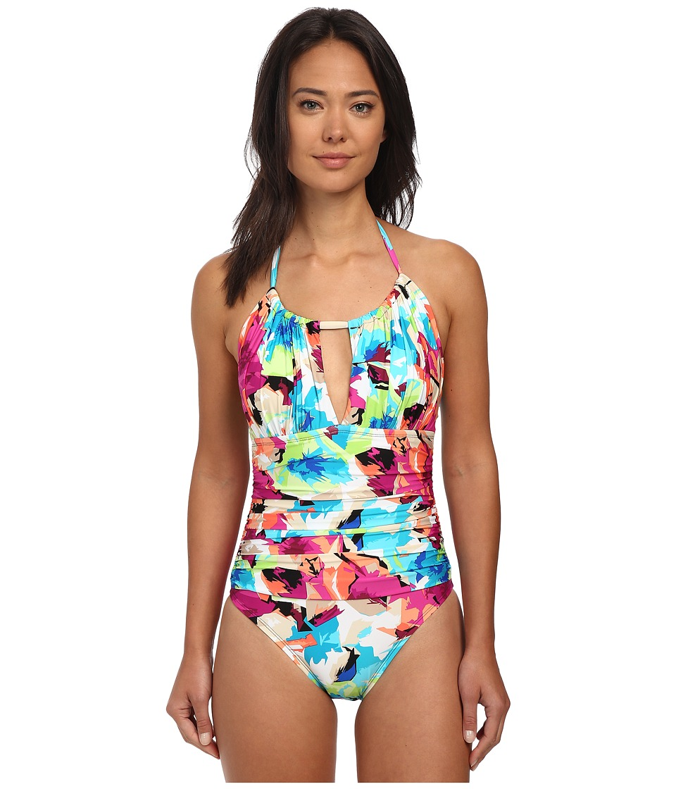 La Blanca - Arte Flores Hi Neck Mio (Multi) Women's Swimsuits One Piece