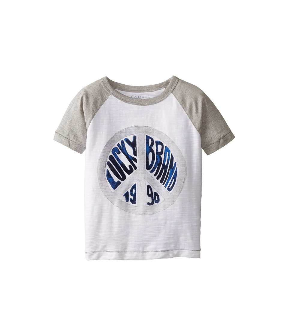 Lucky Brand Kids - Peace Raglan Tee (Little Kids/Big Kids) (White) Boy's T Shirt