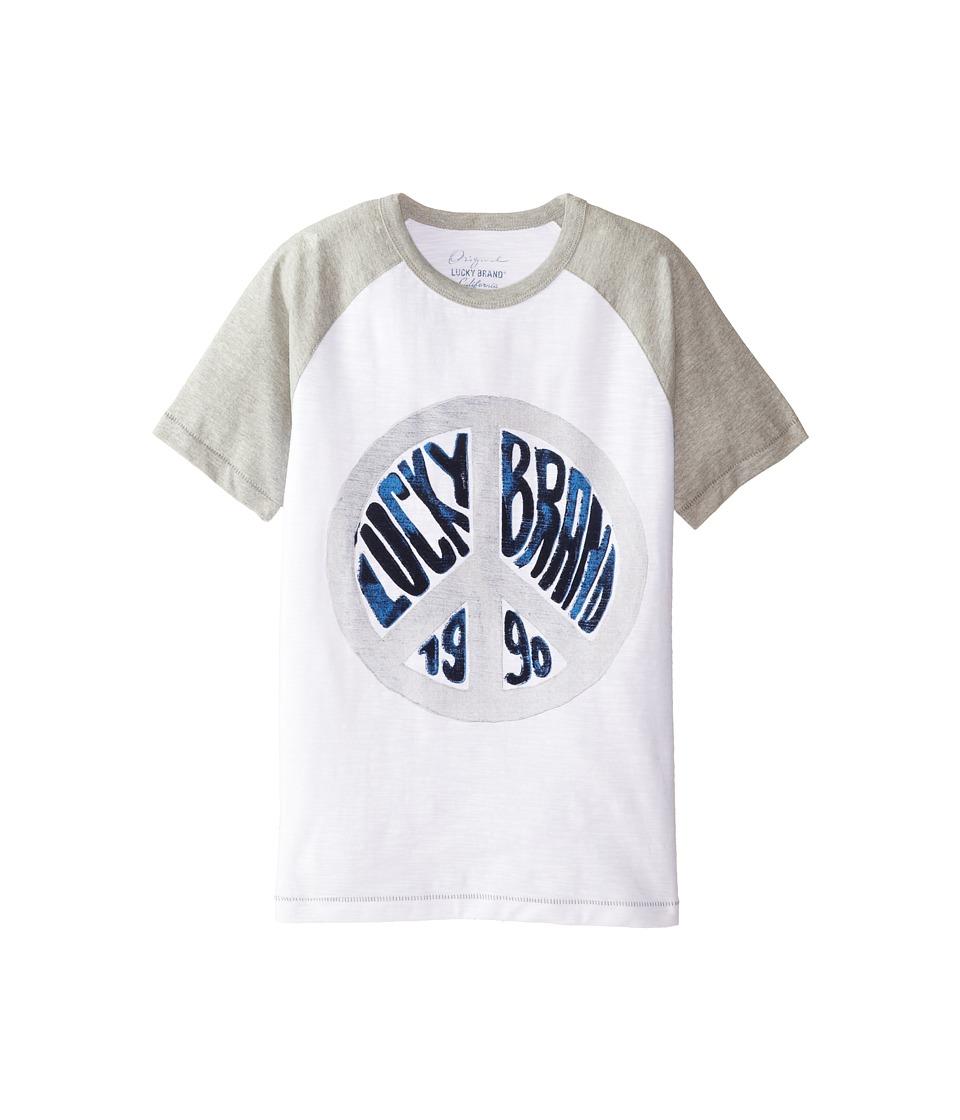 Lucky Brand Kids - Peace Raglan Tee (Big Kids) (White) Boy