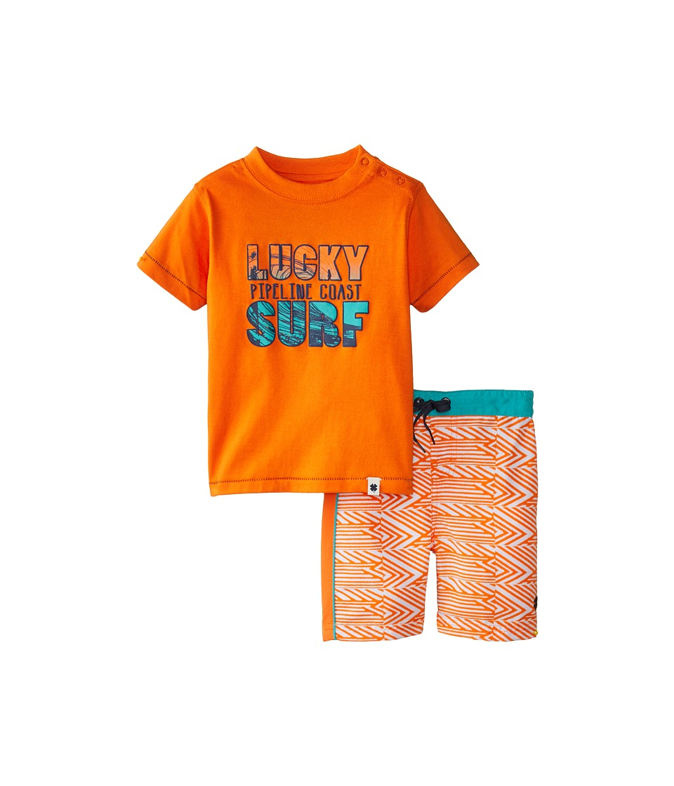 Lucky Brand Kids - Gone Surfing Swim Set (Infant) (Amberglow) Boy's Swimwear Sets