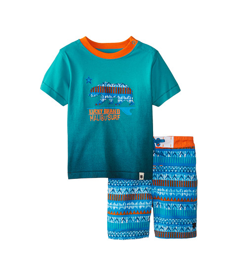 Lucky Brand Kids - Malibu Surf Swim Set (Infant) (Bluebird) Boy's Swimwear Sets