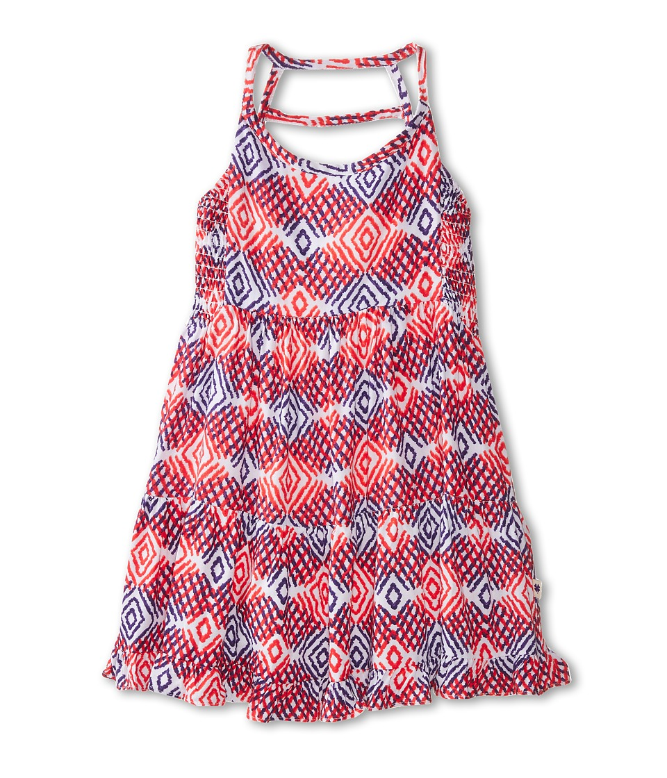 Lucky Brand Kids - Mixed Diamond Print Dress (Toddler) (Living Coral) Girl