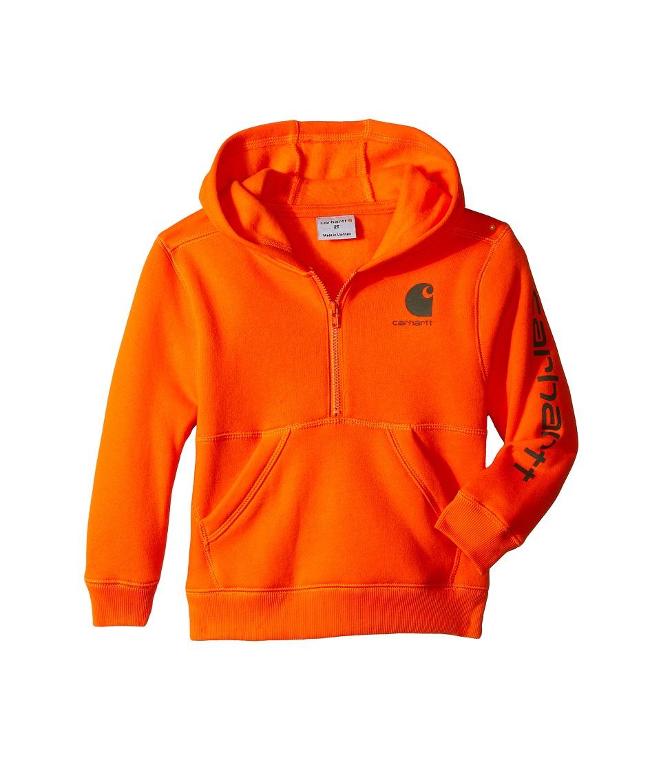 Carhartt Kids - Logo Fleece 1/2 Zip (Toddler) (Blaze Orange) Boy
