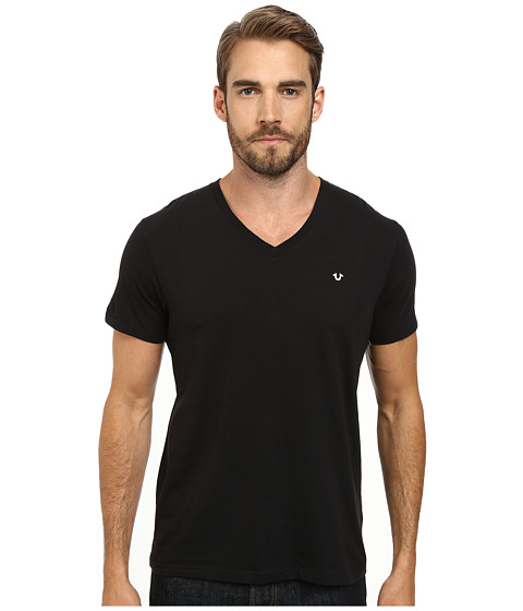 True Religion - V-Neck Tee w/ Logo (2S Black) Men's T Shirt