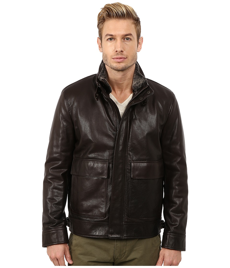 Cole Haan Spanish Grainy Cow Zip Front Jacket (Chocolate) Men