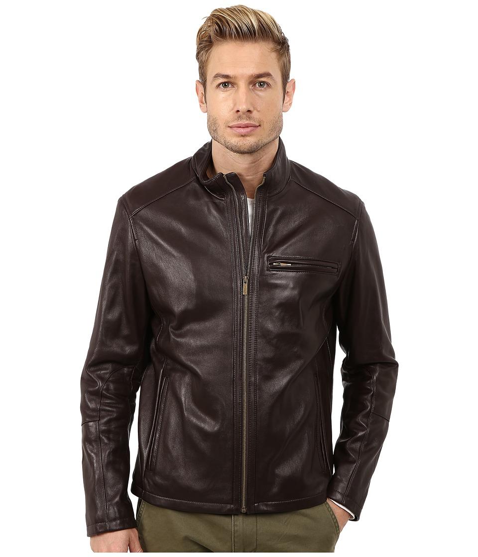 Cole Haan - Smooth Lamb Clean Moto (Java) Men's Jacket